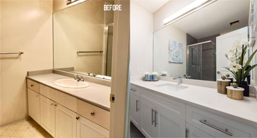 bathroom cabinet before and after refacing with new doors