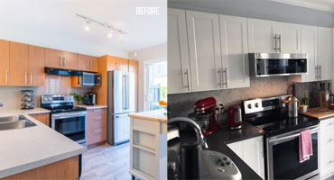 kitchen cabinet before and after refacing greater vancouver