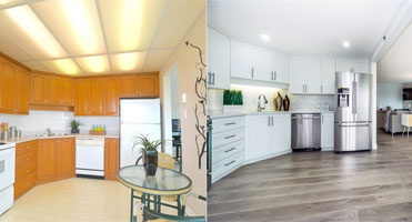 kitchen cabinet before and after refacing with new doors