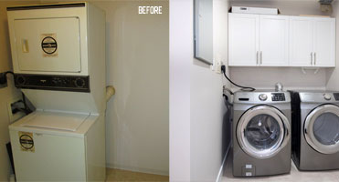 laundry room cabinet before and after refacing with new doors
